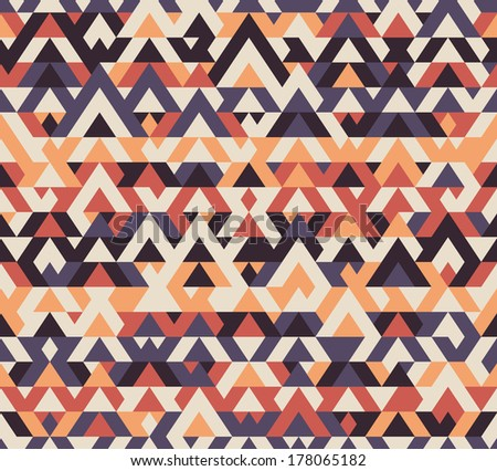 Seamless vector geometric ethnic vintage pattern background - stock vector