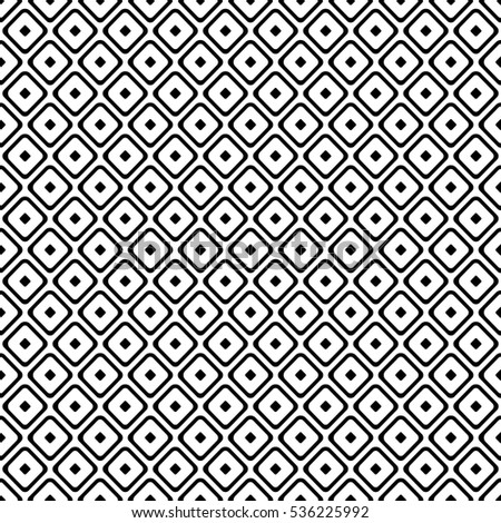 Seamless vector geometrical pattern. Endless black and white background with hand drawn rhombus, squares. Graphic illustration. Print for cover, fabric, wrapping, background..
