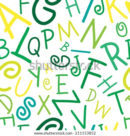 Seamless vector green and yellow on white alphabet letters pattern illustration - stock vector