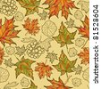 "Seamless vector grunge autumn leaves background. Thanksgiving (from my big ""Seamless collection"") - stock photo"