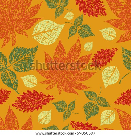 "Seamless vector grunge autumn leaves background. Thanksgiving (from my big ""Seamless collection"")"