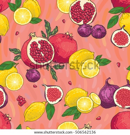 Seamless vector hand drawn juicy pattern