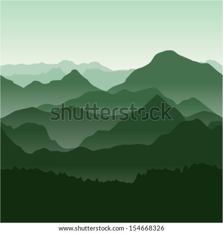 Seamless vector illustration. Green mountains in the fog. - stock vector