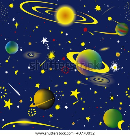 Seamless vector illustration of fantasy cosmic sky wallpaper - stock vector