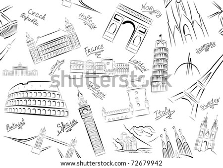 Seamless vector illustration of sights of some European countries.  Black and white. - stock vector