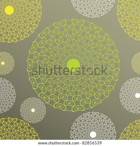 Seamless vector illustration of the lines circles on a color background, clipping mask - stock vector