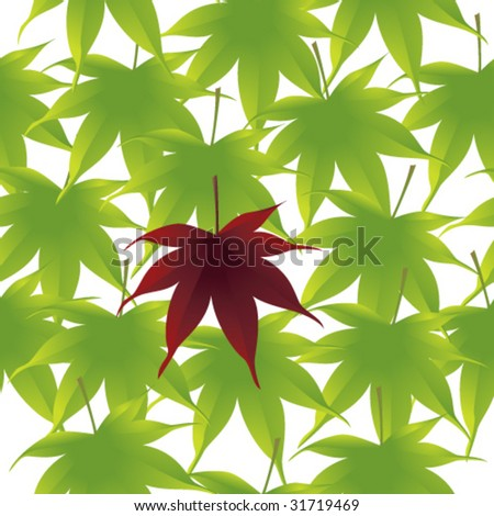 Seamless vector in any direction. Bright green Japanese maple leaves with a red leaf on the middle. - stock vector