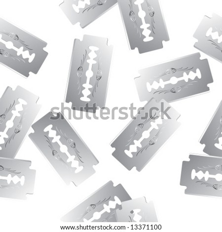 Seamless vector in any direction. Scattered realistic razor blades. - stock vector