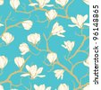 Seamless vector magnolia flower pattern. Delicate floral background - stock photo