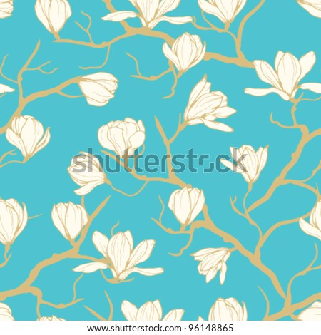 Seamless vector magnolia flower pattern. Delicate floral background - stock vector