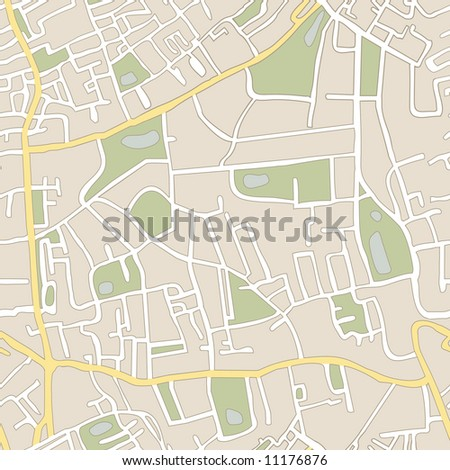seamless vector map of abstract city with no names - stock vector