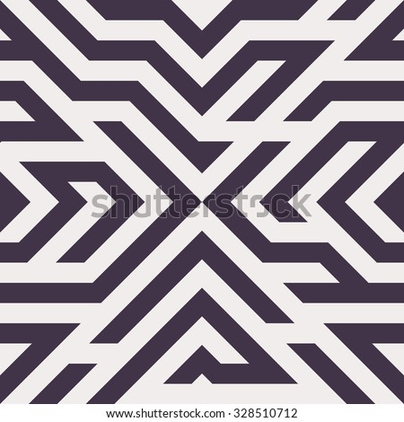 Seamless Vector Maze Pattern for Textile Design. Stylish Black and White Modern Art. Psychedelic Stripes Mix - stock vector