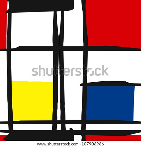 seamless vector of Mondrian masterpieces, geometric art, color doodles, repeating
