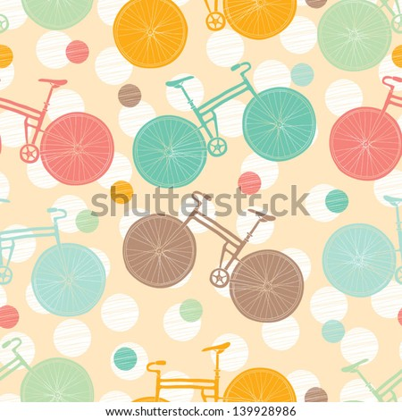 Seamless vector pattern about bicycles. - stock vector