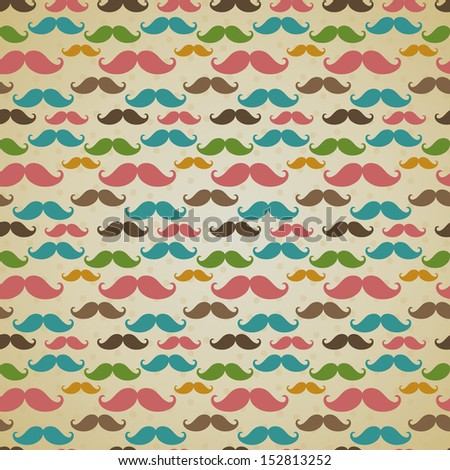 Seamless vector pattern, background or texture with colorful curly vintage retro gentleman mustaches. For hipster websites, desktop wallpaper, blog, web design.  - stock vector