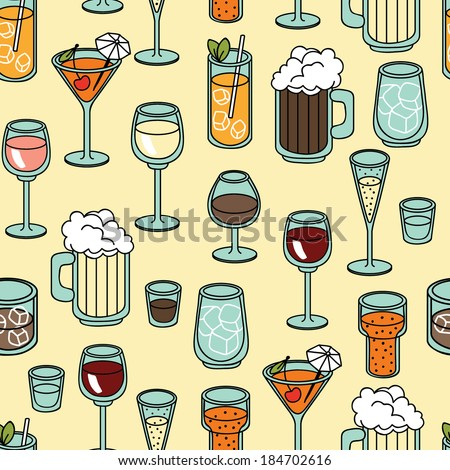 Seamless vector pattern background with alcohol cocktail, martini, margarita, tequila, vodka - stock vector