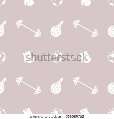 Seamless vector pattern.  Background with grey sports equipment. Soccer ball, punching bag, gloves, barbells on the grey backdrop - stock vector