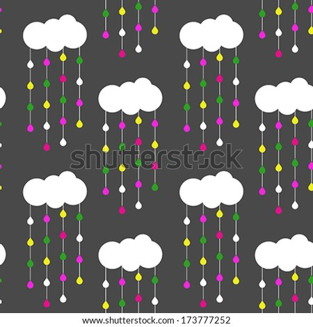 Seamless Vector Pattern - Clouds and Raindrops - Wallpaper - stock vector