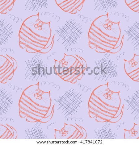 Seamless vector pattern. Cute blue and red background with hand drawn cats and scribbles. Series of Cartoon, Doodle, Sketch and Scribble Seamless Vector Patterns. - stock vector