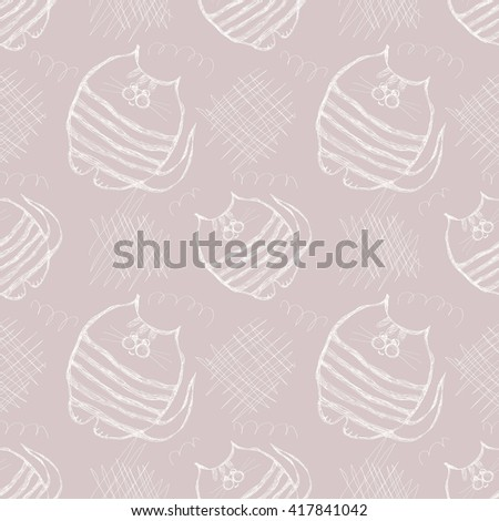 Seamless vector pattern. Cute gray background with hand drawn cats and scribbles. Series of Cartoon, Doodle, Sketch and Scribble Seamless Vector Patterns. - stock vector