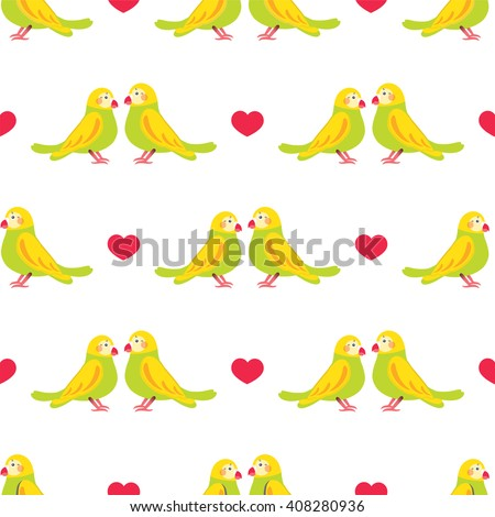 Seamless vector pattern. Festive childish design, illustration of couple cartoon love parrots, birds with hearts. Perfect for textile, backgrounds, texture, cotton, web. Love theme Green, yellow, red - stock vector