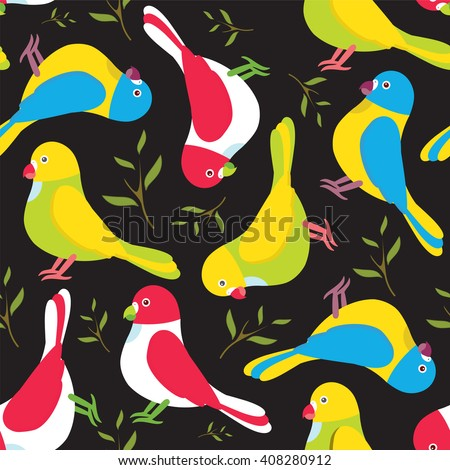 Seamless vector pattern. Festive childish design, illustration of magic cartoon parrots, birds with branch and leaves. Perfect for textile, backgrounds, texture, cotton. Green, yellow, blue, black - stock vector