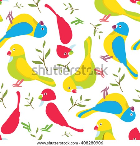 Seamless vector pattern. Festive childish design, illustration of magic cartoon parrots, with branch and leaves. Perfect for textile, backgrounds, texture, cotton, web. Green, yellow, pink, red, blue  - stock vector