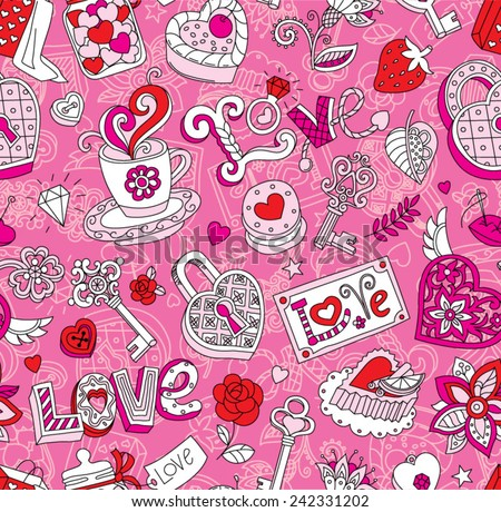 "Seamless vector pattern for Valentine's Day. Hearts, ""Love"" lettering, cakes, keys and other romantic elements on a pink background.  - stock vector"