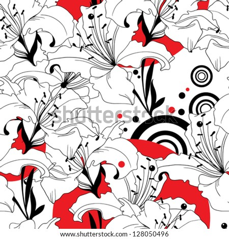 seamless vector pattern from black, white and red lilies - stock vector