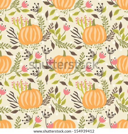 Seamless vector pattern, hand drawn floral background. Halloween collection. - stock vector