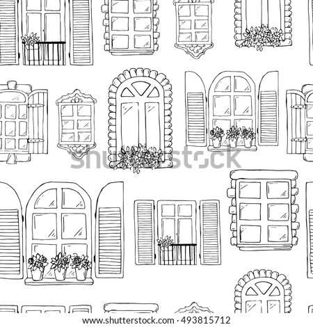 vintage window drawing. hand drawn windows. vintage frameworks. black and white windows on window drawing w
