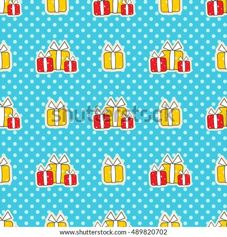 Seamless vector pattern. Merry Christmas design, ornament, festive print. Cute presents on snow background, perfect for paper, packages, box, web. Black, white, red, blue, yellow color