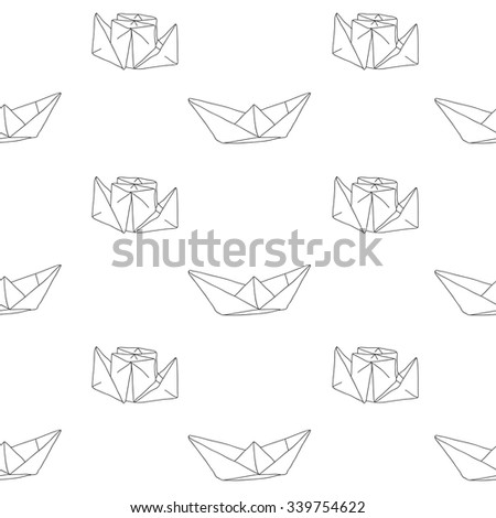 Seamless vector pattern of a white paper boat on a white background, hand-drawn.