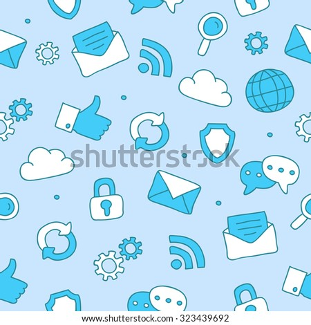 Seamless vector pattern of an Internet icon on a light blue background, hand-drawn. - stock vector