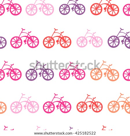 Seamless Vector Pattern of Bikes, Pink Colors - stock vector