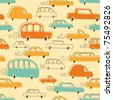 Seamless Vector Pattern of Cartoon Cars - stock vector
