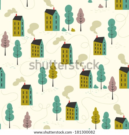 Seamless vector pattern of cartoon houses. Kid's elements for scrap-booking. Childish background. Hand drawn vector illustration.  - stock vector