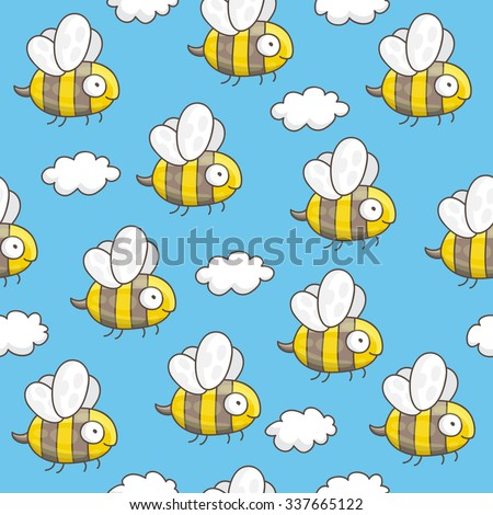 Seamless vector pattern of cute bees and clouds on a blue background, painted by hand.