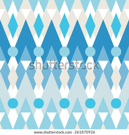 Seamless vector pattern of geometric elements - chevrons, zigzags, circles, triangles.