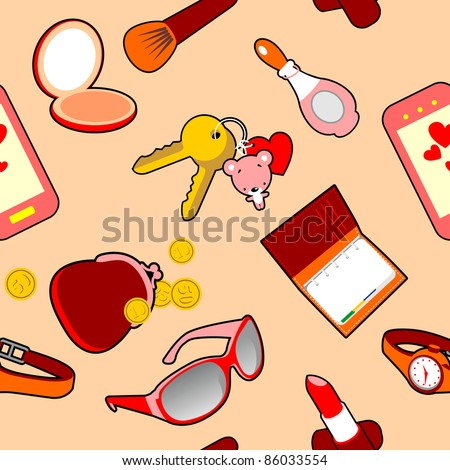 Seamless Vector Pattern of Glamour Female Accessories