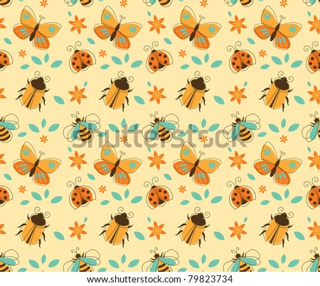 Seamless Vector Pattern of Insects in Retro-Styled - stock vector
