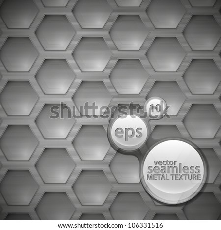 Seamless vector pattern of polished metal hexagon texture background - stock vector