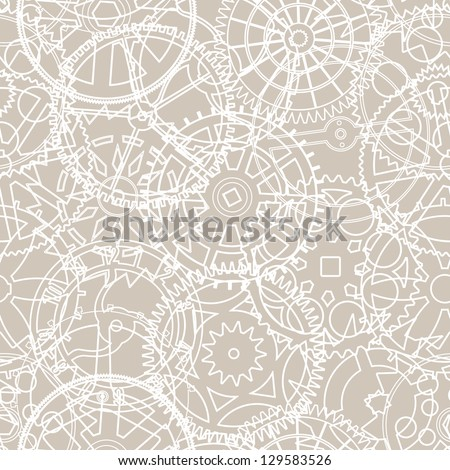 Seamless vector pattern of silhouettes of gears in retro colors - stock vector
