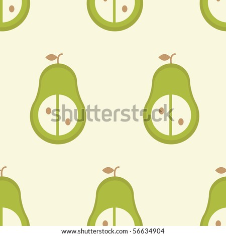 Seamless vector pattern of simple stylized pear - stock vector