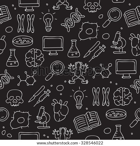 Seamless vector pattern of the research on the biology of icons on a black background, painted by hand. - stock vector