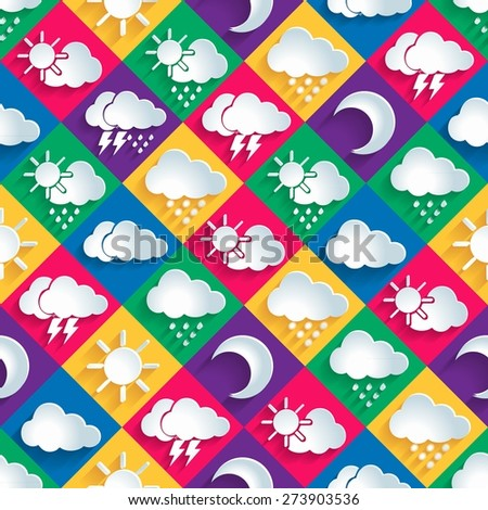 seamless vector pattern of weather icons paper. 10 eps - stock vector