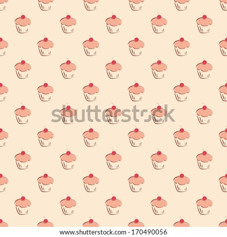 Seamless vector pattern or texture with little cherry cupcakes, hand drawn muffins and sweet cake dessert. Background with sweets for desktop wallpaper, decoration or culinary blog website. - stock vector
