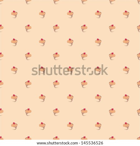 Seamless vector pattern or texture with little cupcakes, muffins, sweet cake and red heart on top. Background with sweets for card, invitation, valentines, wallpaper, desktop or culinary blog website - stock vector