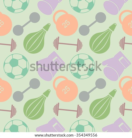 Seamless vector pattern. Pastel background with closeup colorful sports equipment. Soccer ball, punching bag, gloves, barbells, dumbbells and weight. - stock vector