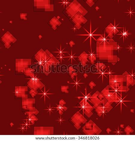 Seamless vector pattern. Red abstract Christmas glittering background with squares  and  stars.